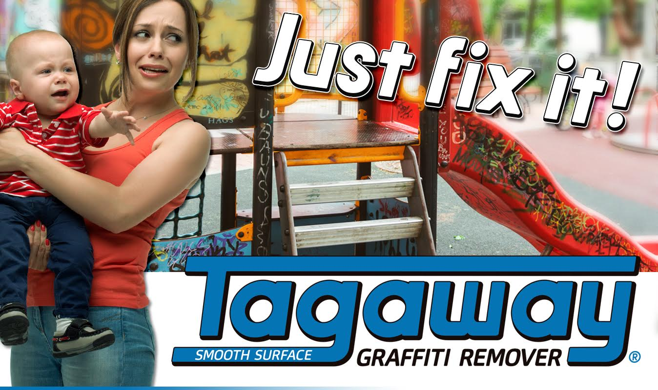 a playground with graffiti all over it that is need of the tagaway, best graffiti removal