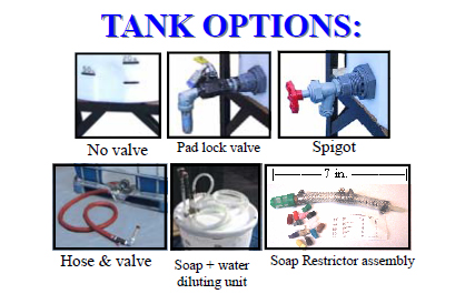 Tank options for dispensing